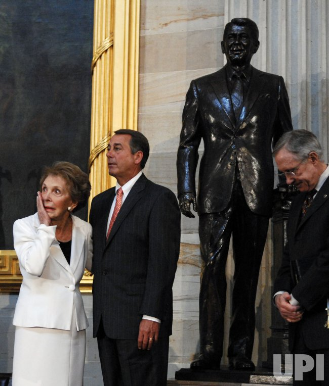 Statue of former President Ronald Reagan unveiled at the U.S. Capitol building in Washington.