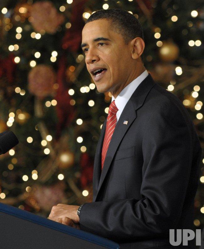 President Obama speaks after Senate passes health care bill in Washington