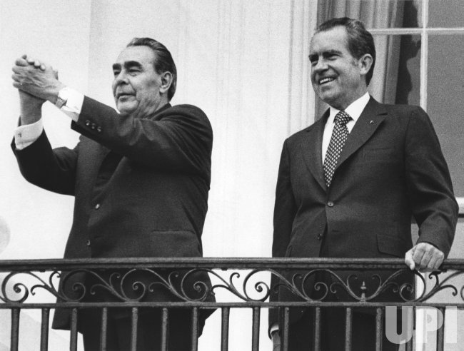 Russian Party Chief Leonid Brezhnev with President Richard M. Nixon at White House balcony