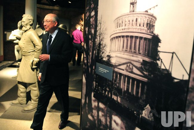 Interior Secretary Ken Salazar tours the museum at Ford's Theater in Washington
