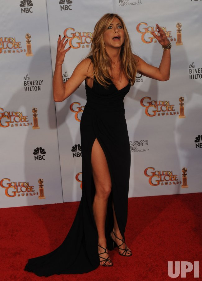 Jennifer Aniston appears backstage at the 67th annual Golden Globe Awards