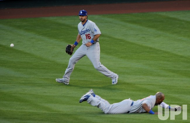 Marlon Byrd dives for ball during the All-Star Game in Anaheim, California