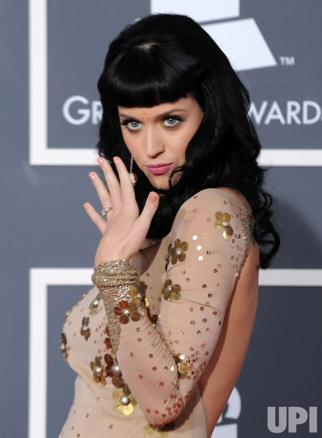 Katy Perry arrives at the 52nd annual Grammy Awards in Los Angeles