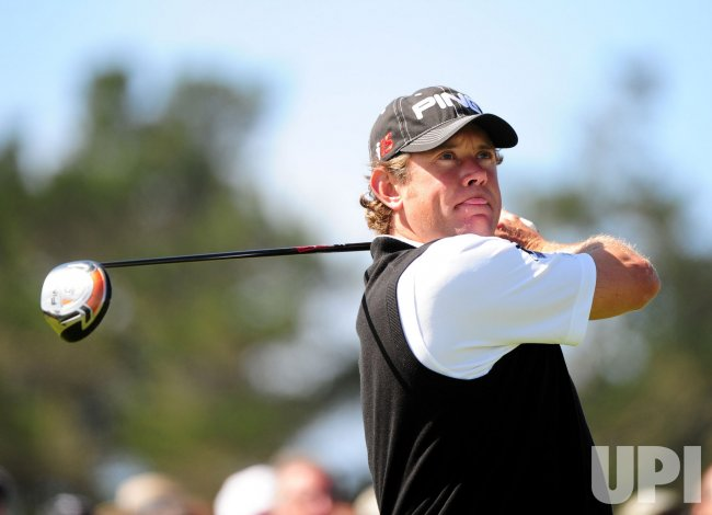 Lee Westwood on the 10th tee box during the U.S. Open in Pebble Beach, California