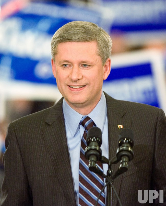 Federal Conservative leader Prime Minister Stephen Harper during an election campaign stop in Vancouver