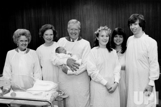 The Carter family at the hospital to welcome newborn grandson