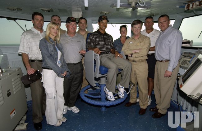 TIGER WOODS VISITS USS GEORGE WASHINGTON