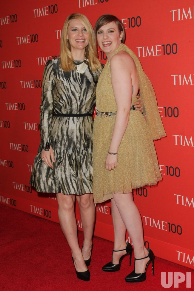 Claire Danes and Lena Dunham attend the TIME 100 Gala in New York
