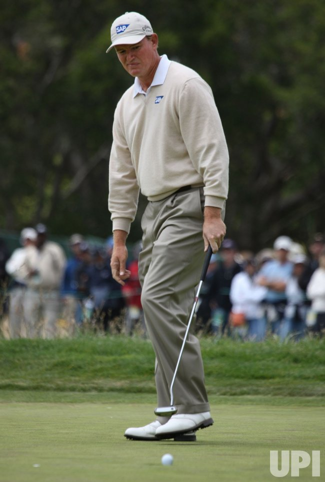 Ernie Els of South Africa frowns in a birdie putt on the second green at the U.S. Open in Pebble Beach, California