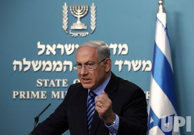 Israeli Prime Minister Benjamin Netanyahu speaks on the Gaza flotilla in Jerusalem