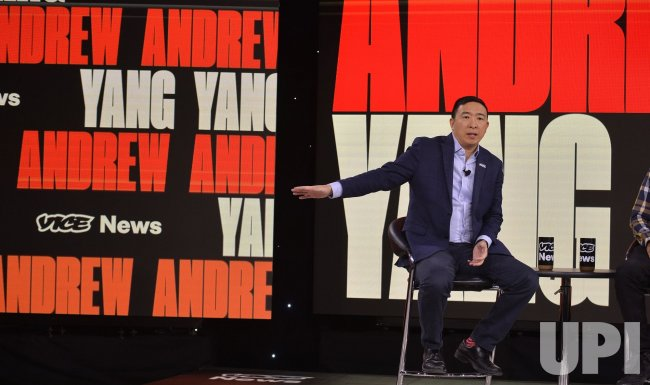 Democratic candidate Andrew Yang attends Brown & Black Presidential Forum in Iowa