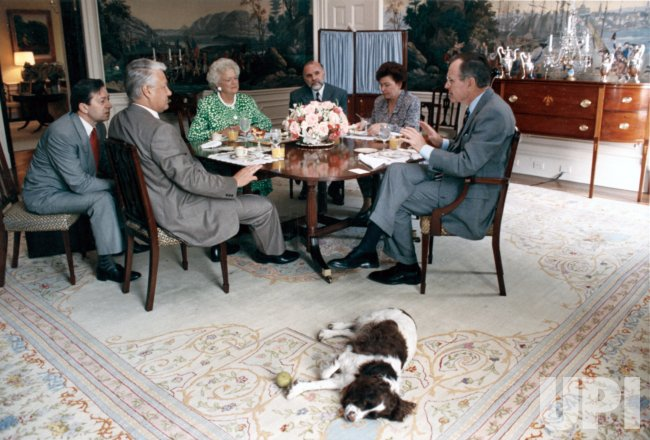 Boris Yelstin and wife at White House luncheon with Pres. and Mrs. Bush
