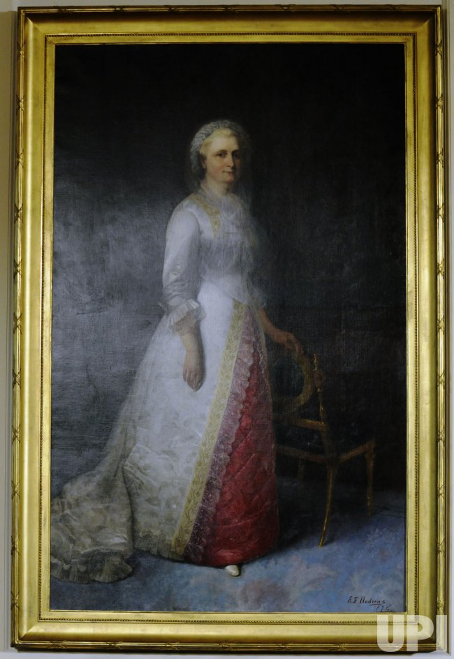 Portrait of Martha Washington in the East Room of White House in Washington