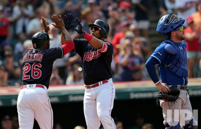 Indians Encarnacion hits a two run home run against the Royals