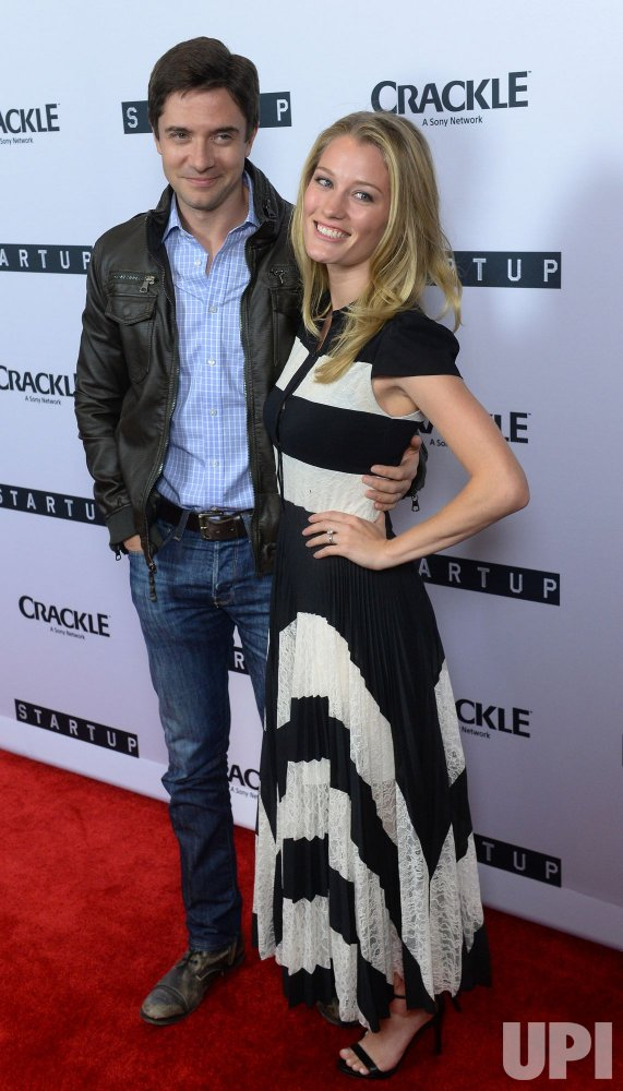 """Ashley Hinshaw and Topher Grace attend Crackle's """"Startup"""" premiere in West Hollywood"""