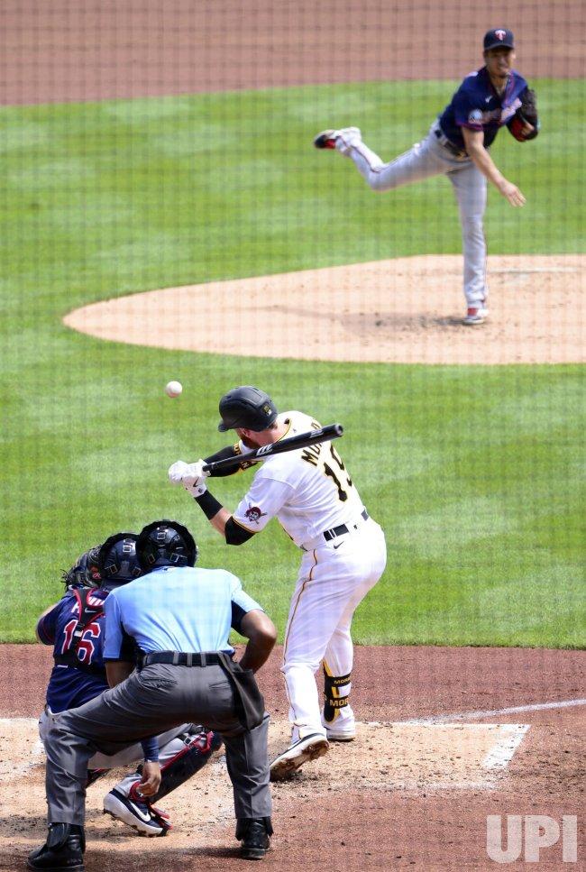 Twins Pitcher Kenta Maeda Throws to Pirates Colin Moran