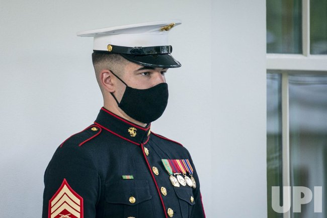 Marine Stands Guard Outside of the West Wing of the White House