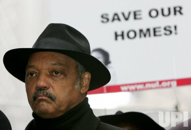 Jessie Jackson holds rally at Wall Street to protest morgage foreclosures in New York
