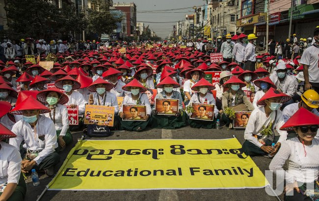 Burmese Demonstrate Against Military Coup in Myanmar