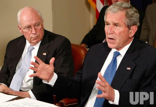 U.S. President Bush speaks about mid-west floods in Washington