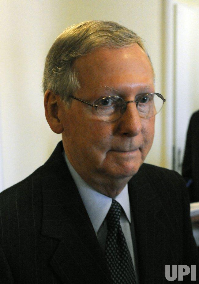 Senate Minority Leader McConnell speaks on economic stimulus plan on Capitol Hill in Washington