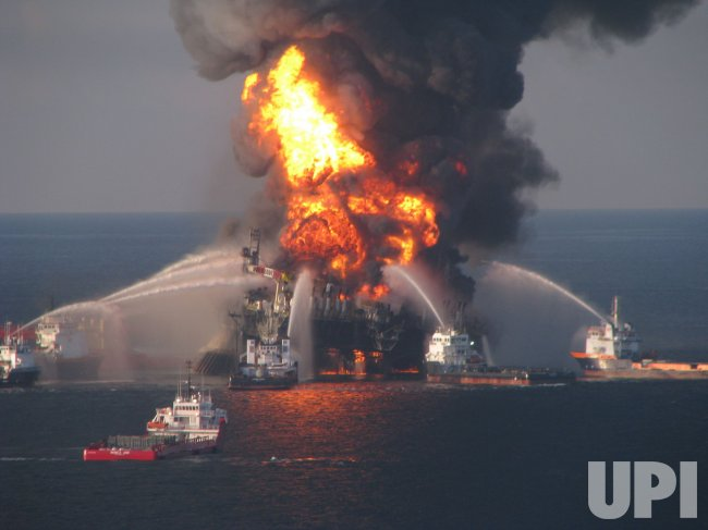 Off shore oil rig Deepwater Horizon explodes of Louisiana coast