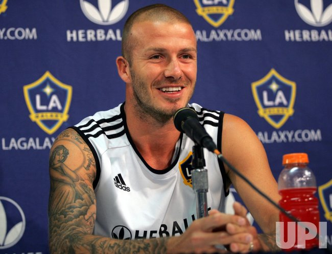 David Beckham press conference at Giants Stadium in New Jersey