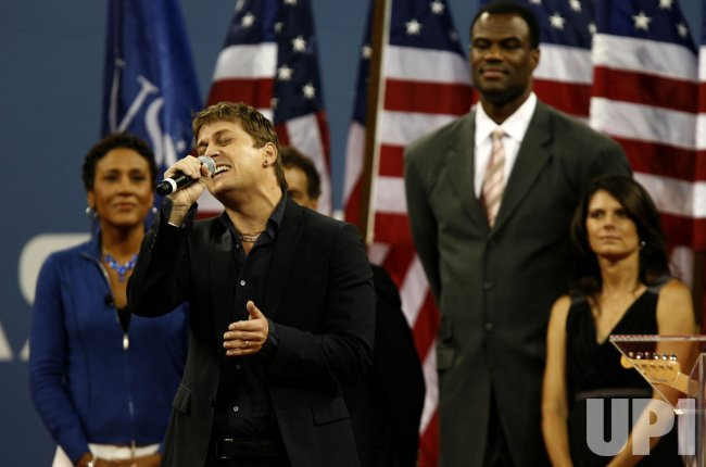 Rob Thomas performs during opening night ceremonies at the US Open Tennis Championships in New York