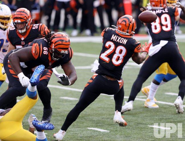 Bengals Joe Mixon Fumbles Football Under Pressure from Chargers Defense