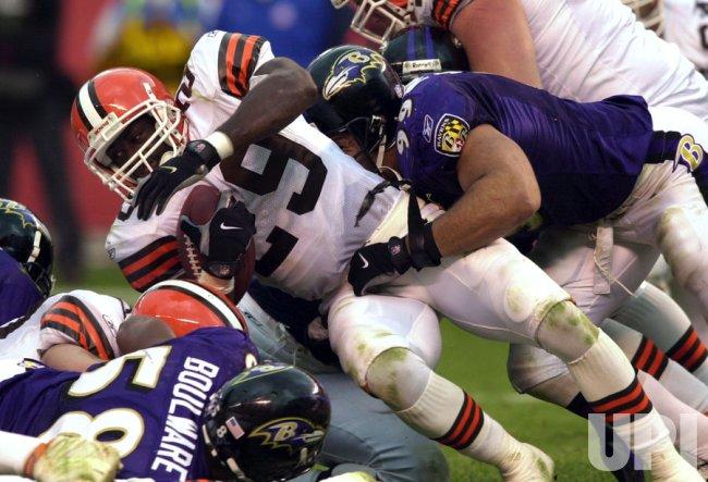 Browns James Jackson on a short run against the Ravens