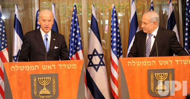 US Vice President Joe Biden and Israeli Prime Minister Benjamin Netanyahu make statements to the press after meeting in Jerusalem