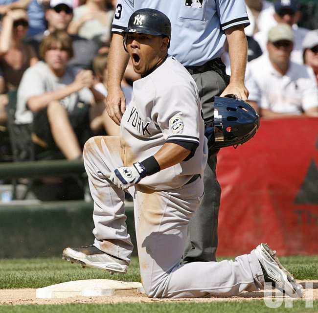 New York Yankees' Melky Cabrera reacts against the Chicago White Sox