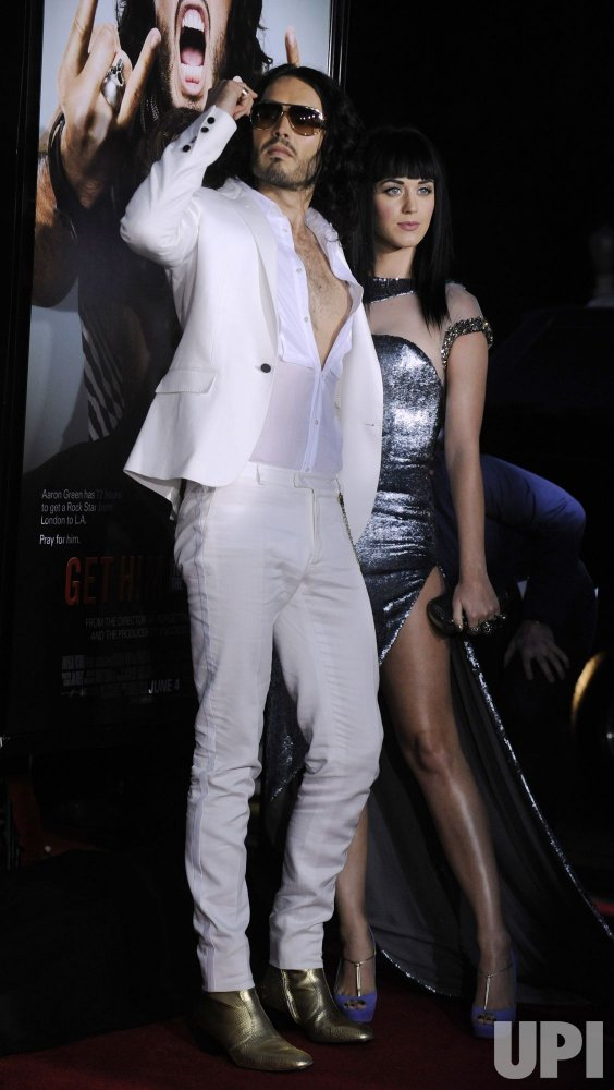 "Russell Brand and Katy Perry attend the premiere of the film ""Get Him to the Greek"" in Los Angeles"