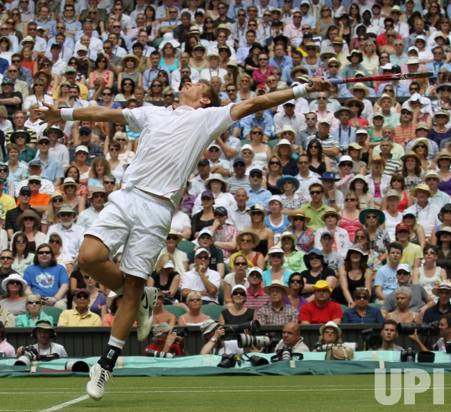 Jarrko Nieminen keeps his eye on the ball at the Wimbledon Championships