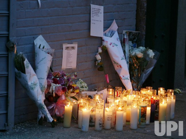 MEMORIAL OUTSIDE OF NEW YORK STRIP CLUB AFTER POLICE SHOOTING