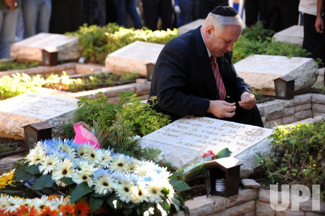 Israeli PM Netanyahu visits brother's grave in Jerusalem