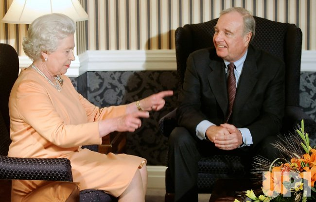 QUEEN ELIZABETH MEETS CANADA'S PRIME MINISTER PAUL MARTIN AFTER HER ARRIVAL IN CANADA