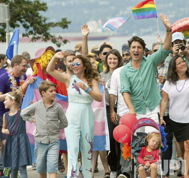Prime Minister Trudeau marches in 2016 Vancouver Gay Pride Parade