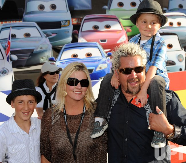 "Guy Fieri, wife and sons attend the ""Cars 2"" premiere in ..."