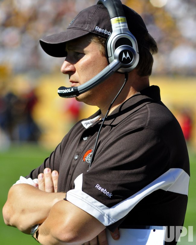 Cleveland Browns Head Coach Eric Mangini Watches from Sideline in Pittsburgh Steelers