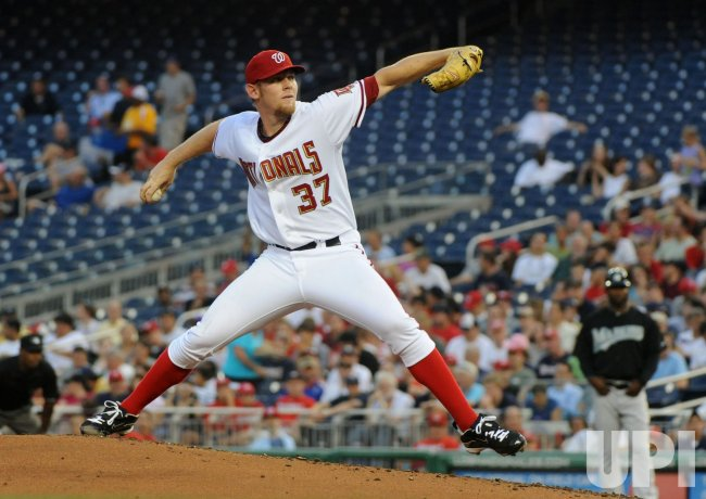 Nationals' pitcher Stephen Strasburg pitches in Washington