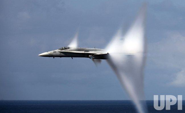 F/A-18C Hornet breaks sound barrier in Pacific Ocean