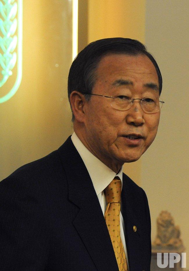 Israel's Prime Minister Benyamin Netanyahu meets UN's Ban Ki-Moon