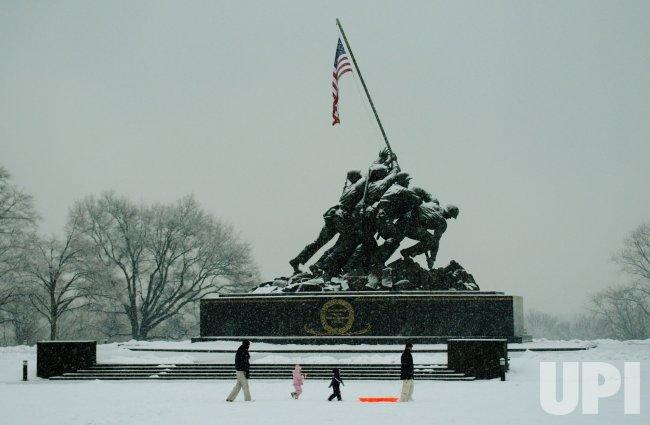 Iwo Jima memorial seen during snow storm in Arlington, Virginia.