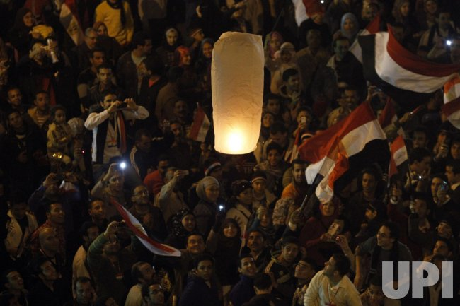 Egyptians Celebrate the President Hosni Mubarak resignation in Cairo