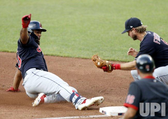 Cleveland Indians Bradley Slides Into Third Base During Intrasquad Game