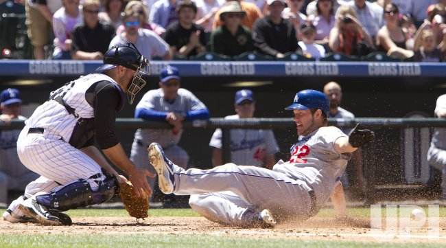 Dodgers Pitcher Kershaw Scores Against the Rockies Iannetta in Denver