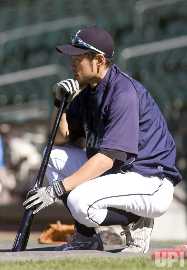 Seattle Mariners' Ichiro Suzuki waits to take batting practice before a game.