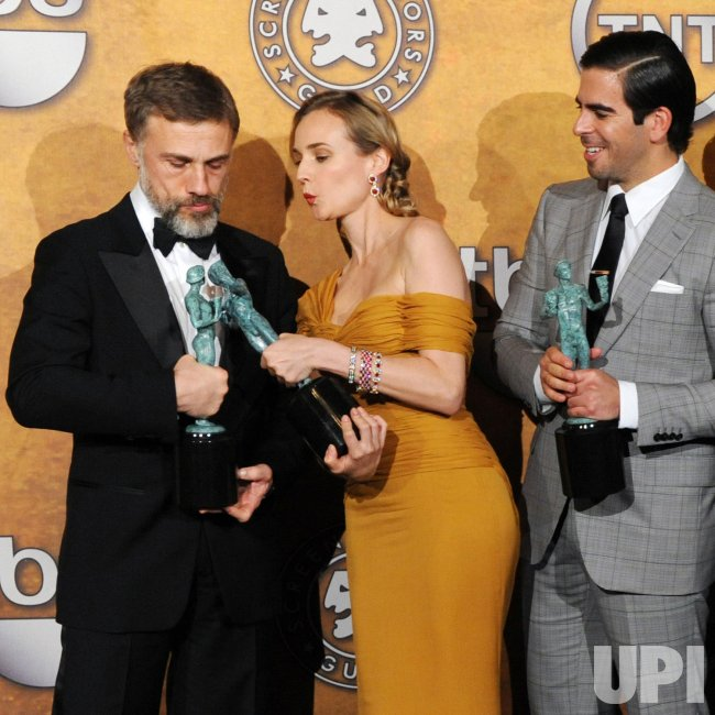 Chrisoph Waltza, Diane Kruger and Eli Roth backstage at the 16th Screen Actors Guild Awards in Los Angeles