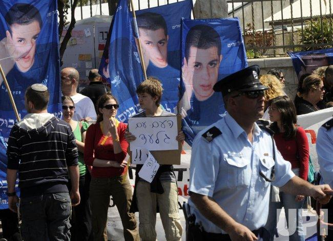 Israelis demonstration for the release of captured soldier Gilad Shalit in Jerusalem